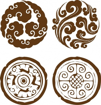 traditional pattern design elements retro symmetry circle layout