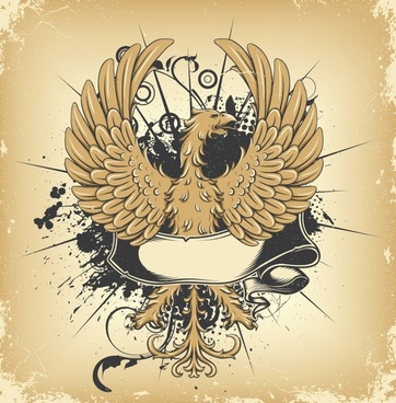 document background vintage grunge decor phoenix sketch