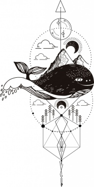 traditional tattoo design elements whale mountain moon icons