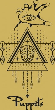 traditional tribal drawing hand brain triangle symmetric design