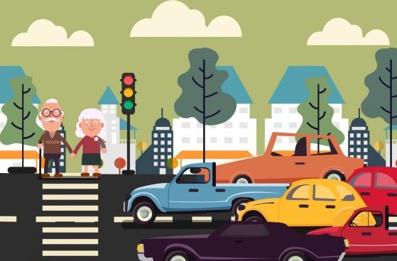 traffic background pedestrian car icons cartoon sketch