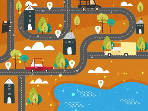 traffic background road cars land icons flat design