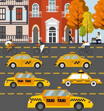 traffic background taxi cars cyclists pedestrian icons decor