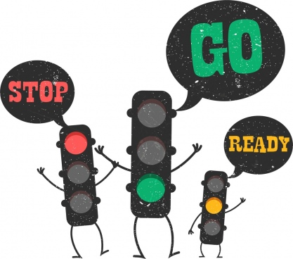 traffic banner funny stylized lights icons retro design
