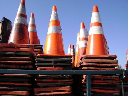 traffic cones road