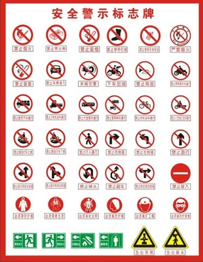 safety signs collection classical flat shapes design