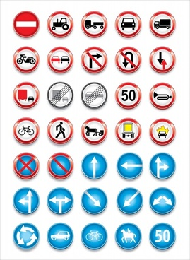 traffic signs collection shiny modern colored circle design