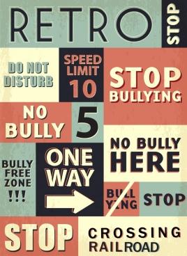 traffic signs collection retro texts decor flat design