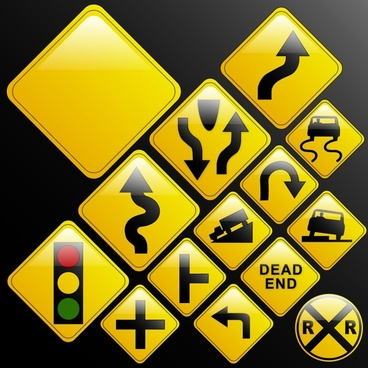 traffic sign templates modern yellow flat decor