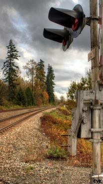 train tracks lights