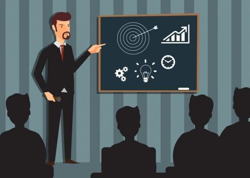 training theme businessman icon colored cartoon