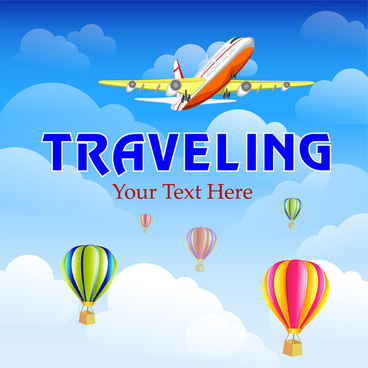 tralveling background with balloon and airplane