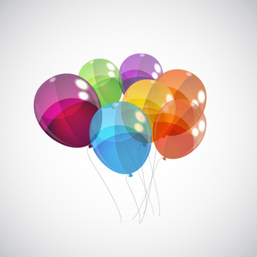 transparent colored balloons vector background
