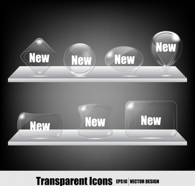transparent crystal icon vector