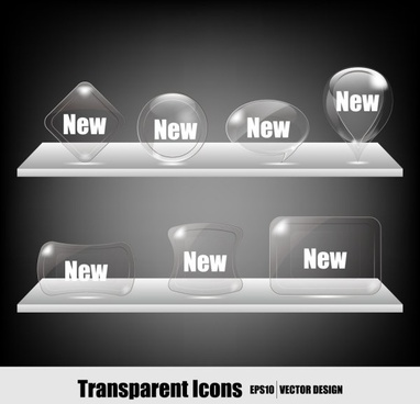 transparent crystal icons vector