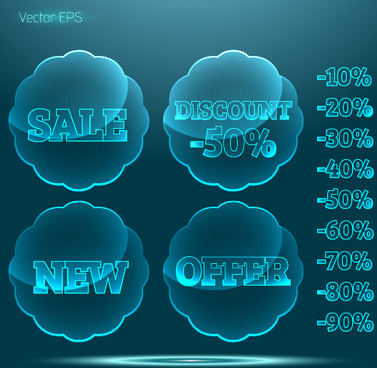 transparent glass sale labels vector matirial