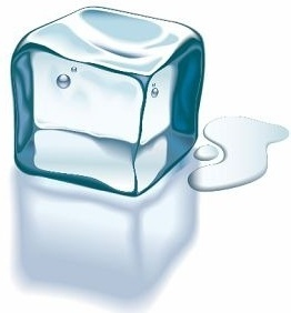 cubic ice icon design closeup realistic transparent style