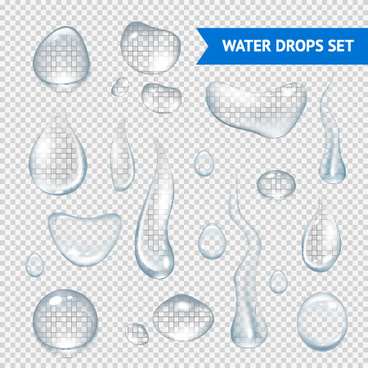 transparent water drops illustration vector