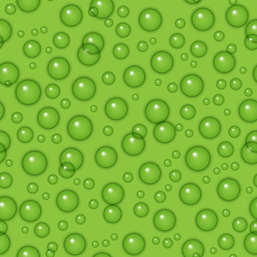 transparent water drops with green background vector seamless pattern