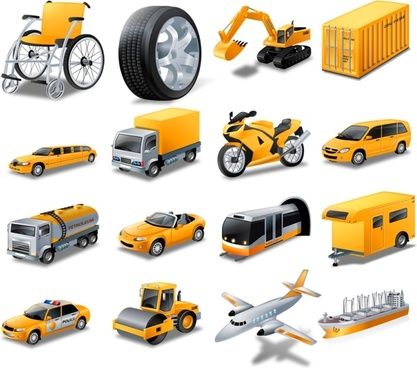 transport icons collection yellow realistic style design