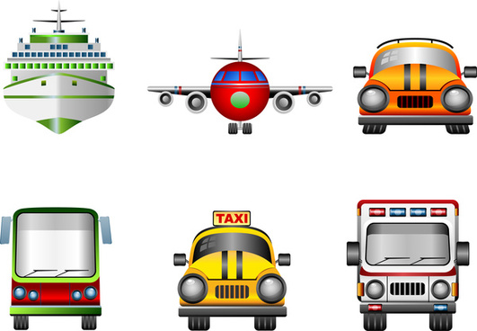transportation icons sets in flat style