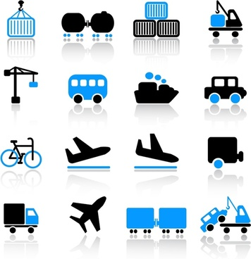 logistic icons modern flat blue black symbols sketch