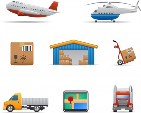 logistics icons colored modern symbols sketch