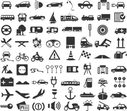 transportation icons vector set