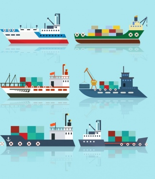 transportation ship icons colored reflection design