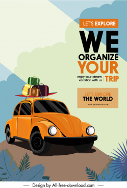 travel advertising poster car luggage sketch classic design