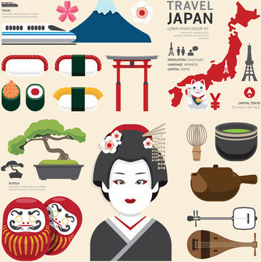 travel and cultural elements vector