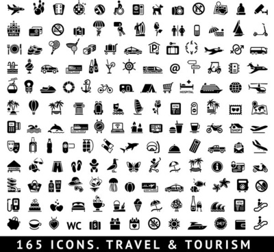 travel and tourism icons set vector