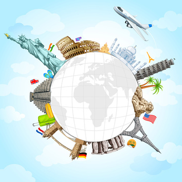 travel around the world creative vector