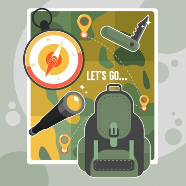 travel background backpack knife compass map binoculars icons