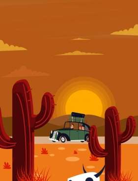 travel background car cactus sun icons colored cartoon