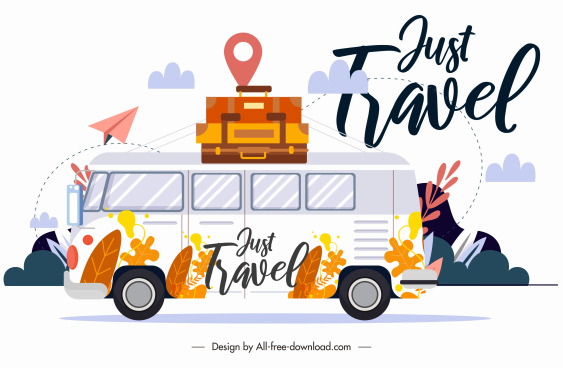 travel background classic design bus luggages sketch