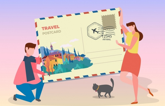 travel background huge postcard people icons decor