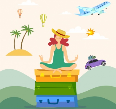 travel background yoga woman luggage airplane car icons