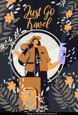 travel banner backpacked tourist icon dark flora decor