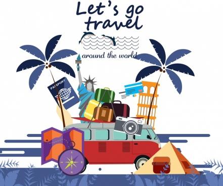 travel banner bus luggage landmark design elements decor
