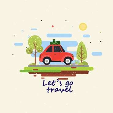 travel banner car luggage icons flat multicolored drawing