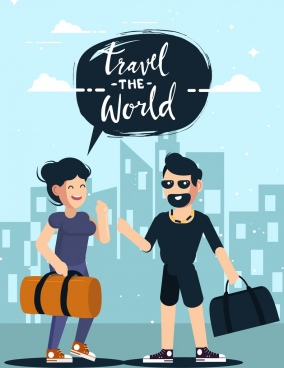 travel banner couple luggage icons cartoon characters