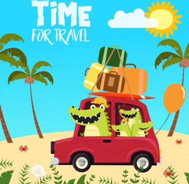travel banner crocodile icons stylized cartoon design