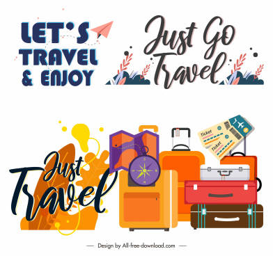 travel banner design elements texts personal stuffs sketch