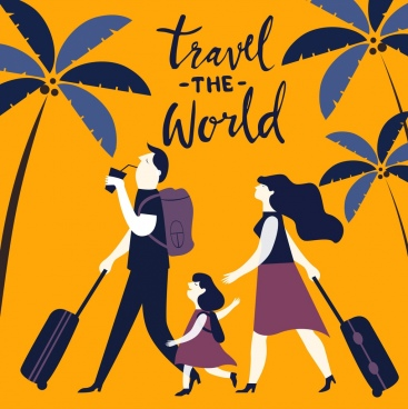 travel banner family luggage coconut icons classical design