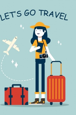 travel banner female tourist luggage airplane icons