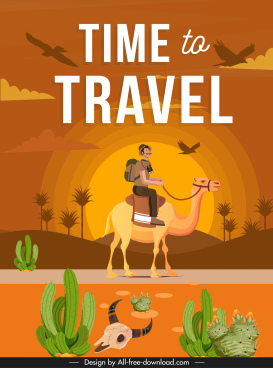 travel banner hiker camel desert sketch colored classic