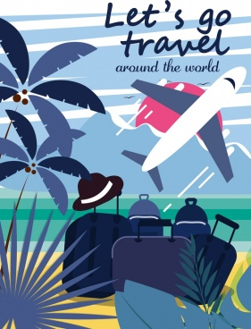 travel banner luggage airplane seascape icons classical design