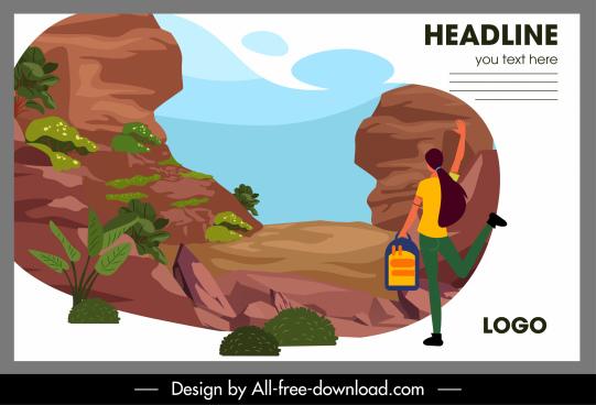 travel banner rock mountain scene sketch