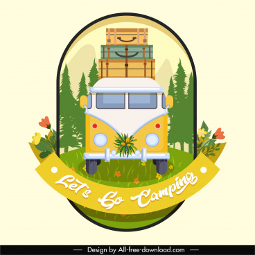 travel banner template colorful classic bus luggage sketch